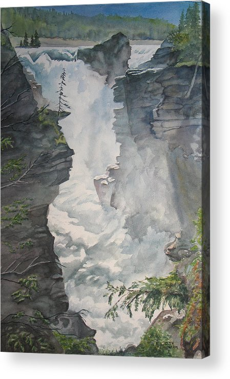 Athabasca Acrylic Print featuring the painting Athabasca Falls Alberta by Debbie Homewood