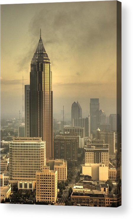 Atlanta Acrylic Print featuring the photograph Atlanta Skyline At Dusk by Robert Ponzoni