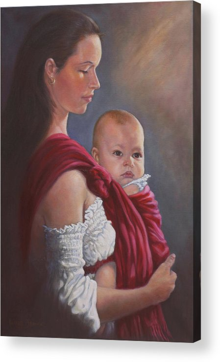 Mother And Child Acrylic Print featuring the painting Baby In Rebozo by Harvie Brown
