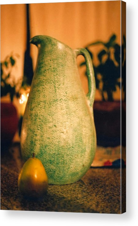 Still Life Acrylic Print featuring the photograph Bali Pitcher And Pear by Heather S Huston