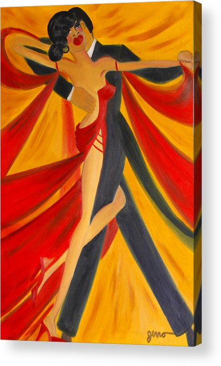 Ballroom Dancing Acrylic Print featuring the painting Ballroom Dancing Tango by Helen Gerro