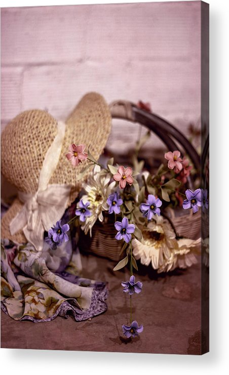 Basket Acrylic Print featuring the photograph Basket Of Flowers by Eleanor Caputo