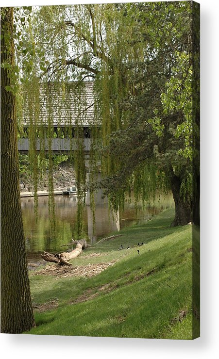 Usa Acrylic Print featuring the photograph Bavarian Covered Bridge Over The Cass River Frankenmuthmichigan by LeeAnn McLaneGoetz McLaneGoetzStudioLLCcom