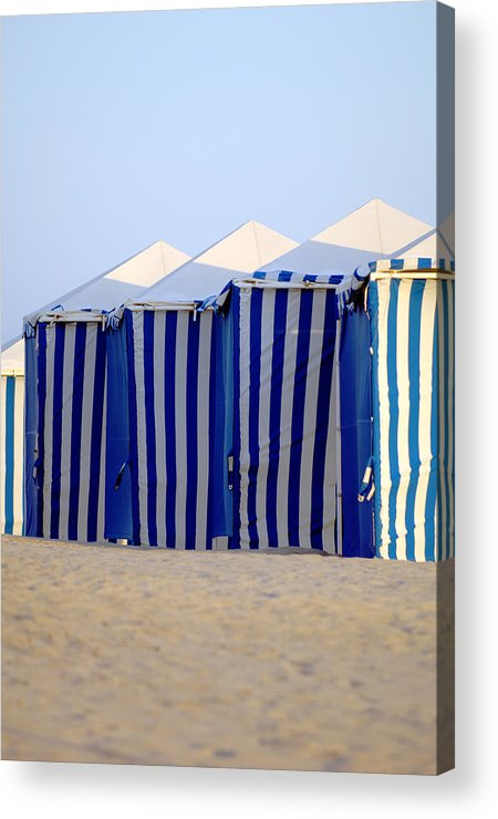Beach Ocean Vacation Cabans Blue Tents Acrylic Print featuring the photograph Beach Cabanas by Jill Reger