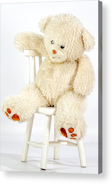 Bear Acrylic Print featuring the photograph Bear On A Chair by Vanora Naude