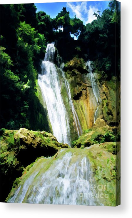 Beautiful Acrylic Print featuring the photograph Beautiful Cascades Of Mele Falls Surrounded By Lush Foliage by Sami Sarkis