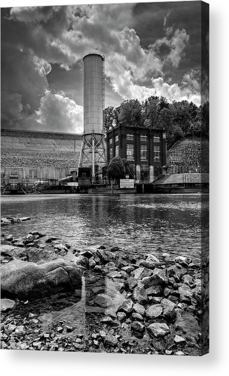 Lake Blue Ridge Acrylic Print featuring the photograph Below The Dam In Black And White by Greg and Chrystal Mimbs