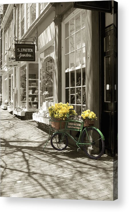 Floral Acrylic Print featuring the photograph Bicycle With Flowers - Nantucket by Henry Krauzyk