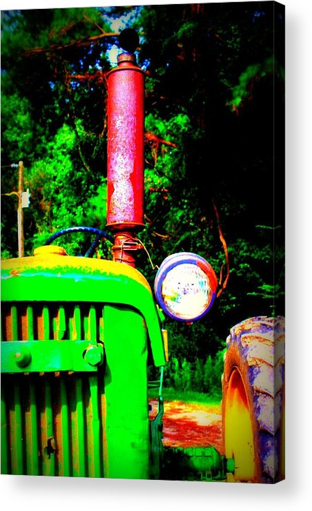Old Acrylic Print featuring the photograph Big Green Tractor 2 by Jill Tennison