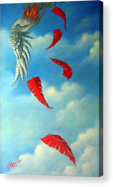 Surreal Acrylic Print featuring the painting Bird On Fire by Valerie Vescovi