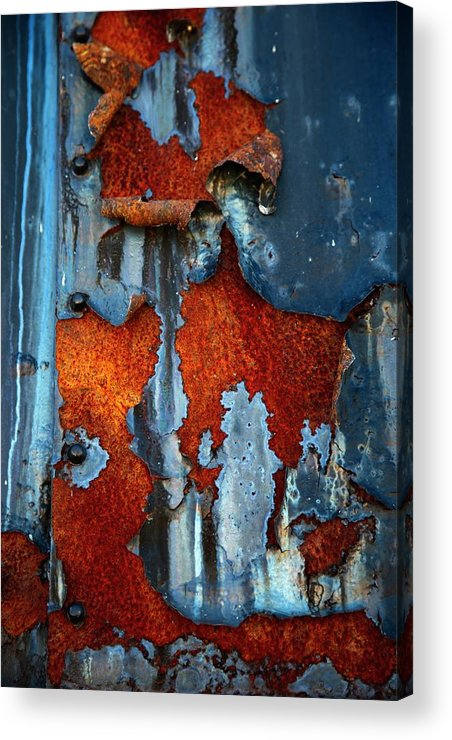 Rusty Pieces Acrylic Print featuring the photograph Blue And Rust by Karol Livote