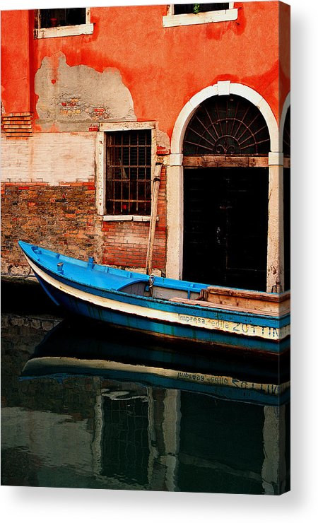 Water Acrylic Print featuring the photograph Blue Boat Venice Italy by Xavier Cardell