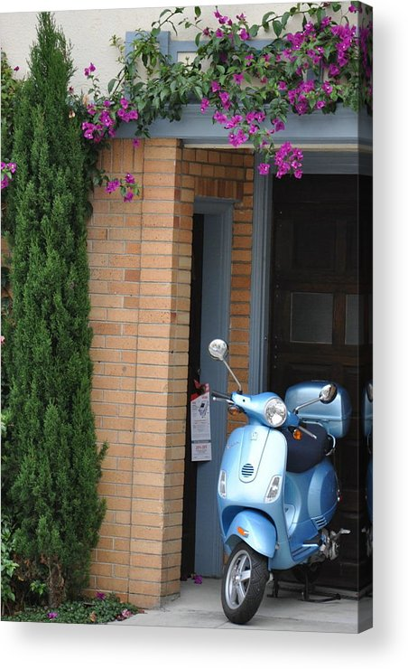 Scooter Acrylic Print featuring the photograph Blue Scooter by Vijay Sharon Govender