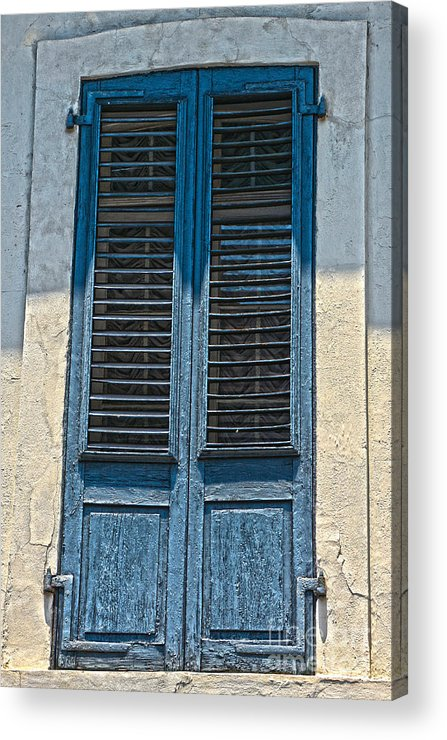 Blue Shutters Acrylic Print featuring the photograph Blue Shutters by Christine Dekkers