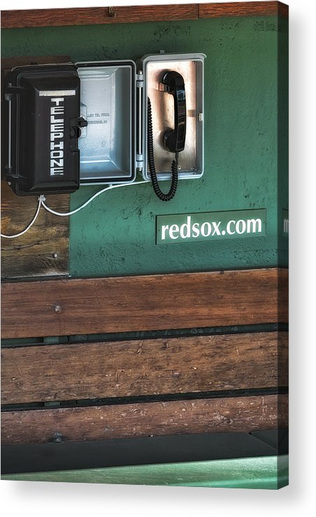 Boston Acrylic Print featuring the photograph Boston Red Sox Dugout Telephone by Susan Candelario