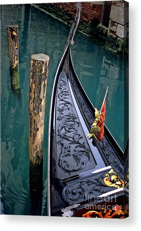Italy Acrylic Print featuring the photograph Bow Of Gondola In Venice by Michael Henderson