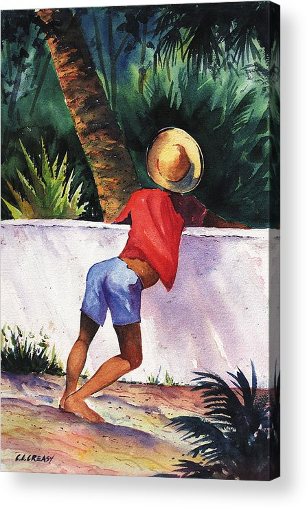 Island Acrylic Print featuring the painting Boy Leaning On Wall by Chuck Creasy