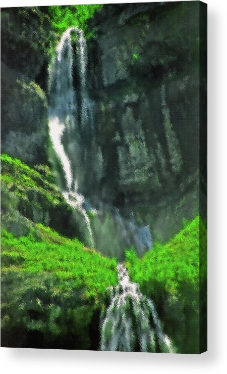 Falls; Fall; Waterfall; Nature; Natural; Water; Falling Water; Cascading Water; Cascading; Falling; Cascading Falls; Cascading Waterfall; Cool; Fresh; Pure; Clean; Rejuvenating; Refreshing; Tranquil; Peaceful; Calming; Quiet; Meditative; Mountainous; Mountains; Summer; Summertime; Scenic; Scenery; Landscape; Rock; Rocky; Canyon Wall; Cliff; Canyon; Provo Canyon; Utah; Bridal Veil Falls; Environmental; Environment; Resource; Earths Resources; Digital Art; Textured; Painterly; Canvas; Artistic Acrylic Print featuring the photograph Bridal Veil Falls Canvas 1 by Steve Ohlsen