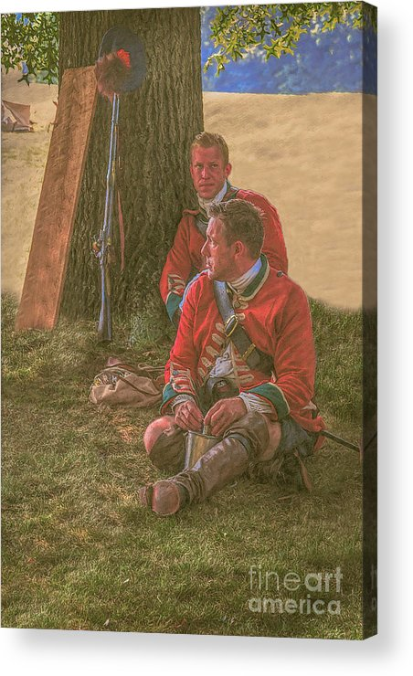 Uniform Acrylic Print featuring the digital art British Soldiers In Camp by Randy Steele