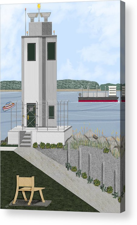 Lighthouse Acrylic Print featuring the painting Browns Point Lighthouse On Commencement Bay by Anne Norskog