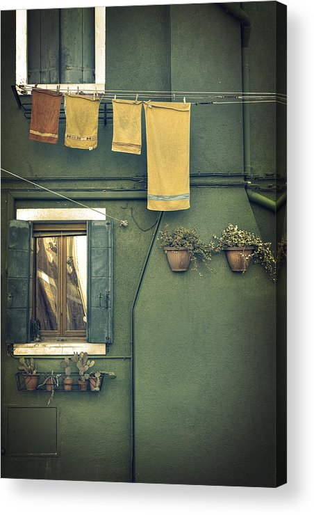 Green Acrylic Print featuring the photograph Burano - Green House by Joana Kruse