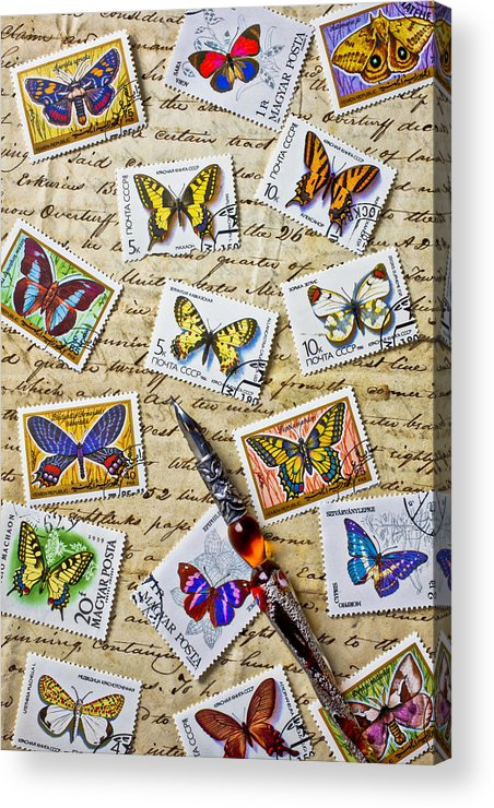 Butterfly; Butterflies; Postage; Stamps; Old; Document; Ink; Pen; Writing; Write; Letter; Letters; Communication; Graphic; Vertical; Still Life; Insects; Correspondence; Words; Text; Handwriting; Paper; Calligraphy; Note; Message; Post; Mail;  Acrylic Print featuring the photograph Butterfly Stamps And Old Document by Garry Gay