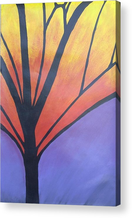 Abstract Tree Butterfly Bright Acrylic Print featuring the painting Butterfly Tree 1 by Sally Van Driest