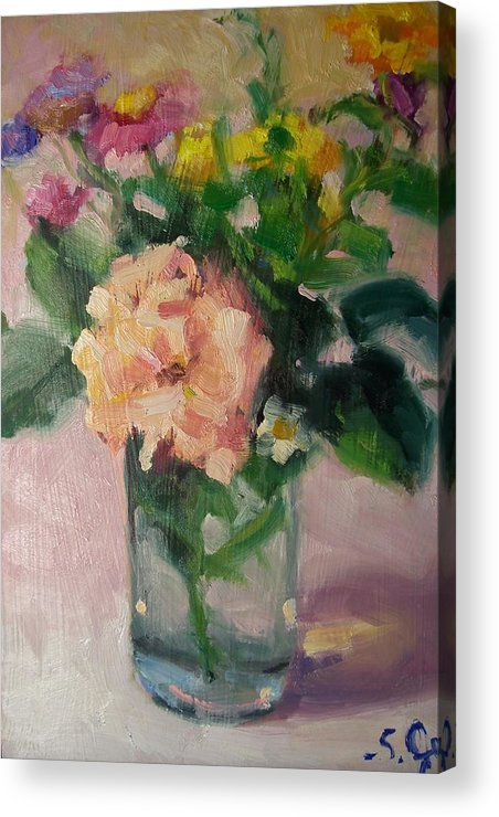 Painting Acrylic Print featuring the painting Cambria Flowers by Susan Jenkins