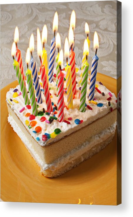 Flame Acrylic Print featuring the photograph Candles On Birthday Cake by Garry Gay