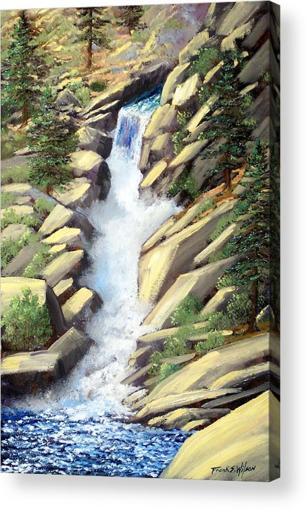 Landscape Acrylic Print featuring the painting Canyon Falls by Frank Wilson