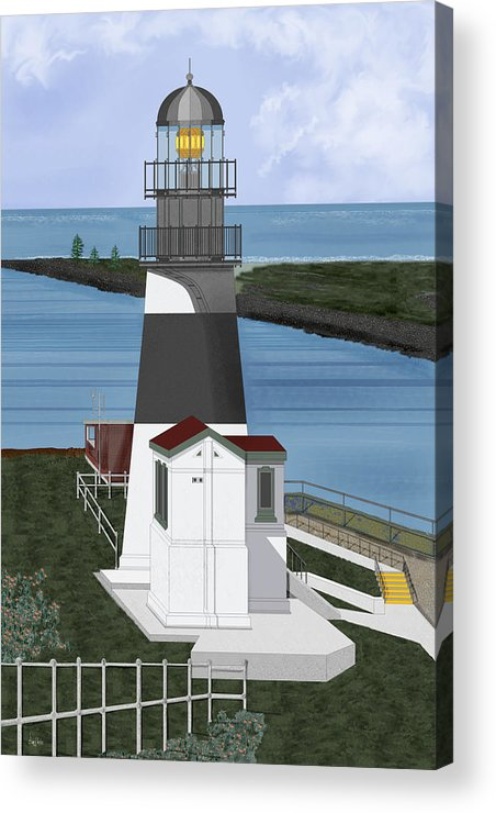 Lighthouse Acrylic Print featuring the painting Cape Disappointment At Fort Canby Washington by Anne Norskog