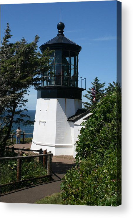 Lighthouse Acrylic Print featuring the photograph Cape Meares Lighthouse Li 100 by Mary Gaines