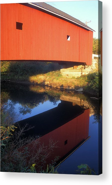 Covered Bridge Acrylic Print featuring the photograph Carleton Covered Bridge Reflection by John Burk