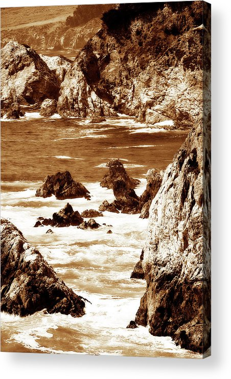 Photo Acrylic Print featuring the photograph Carmel Highlands 8 Sepia by Alan Hausenflock