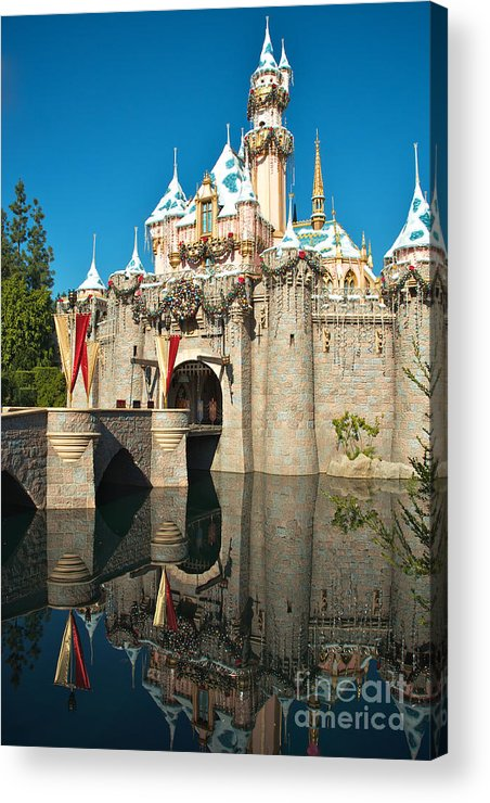 Disneyland Acrylic Print featuring the photograph Castle Reflection by Jason Waugh