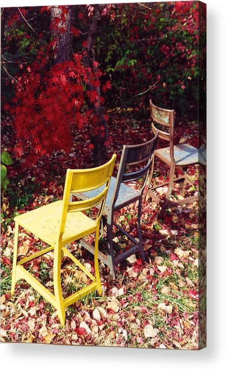 Fall Landscape Acrylic Print featuring the photograph Chairs by Evelynn Eighmey