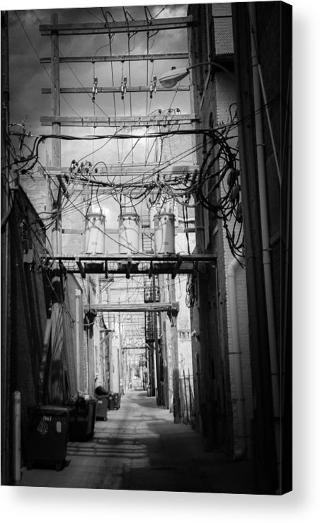 Black And White Acrylic Print featuring the photograph Cheyenne Alley by John Vial
