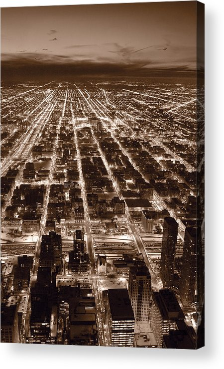 Aerial Acrylic Print featuring the photograph Chicago City Lights West B W by Steve Gadomski