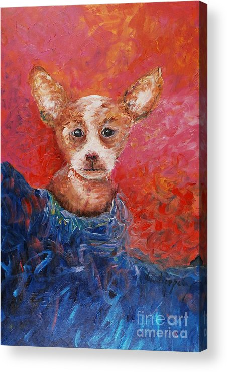 Dog Acrylic Print featuring the painting Chihuahua Blues by Nadine Rippelmeyer