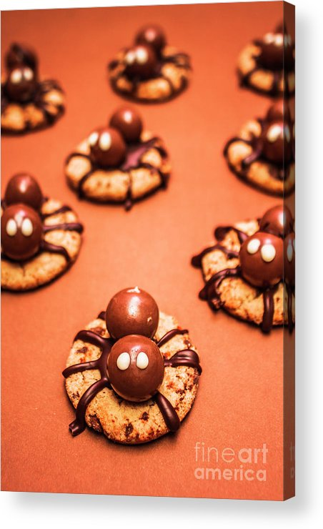 Halloween Acrylic Print featuring the photograph Chocolate Peanut Butter Spider Cookies by Jorgo Photography - Wall Art Gallery