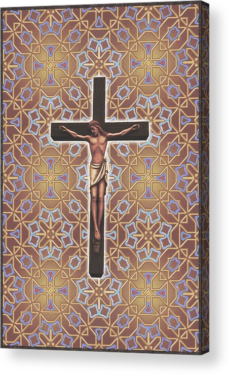 Christian Art Acrylic Print featuring the mixed media Christ Variations #1 by Samuel Zimmerman