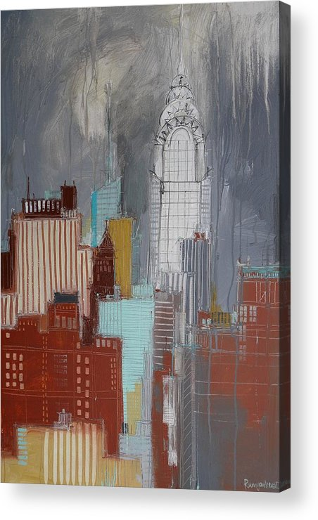 New York Acrylic Print featuring the painting Chrysler Building, New York by Irina Rumyantseva