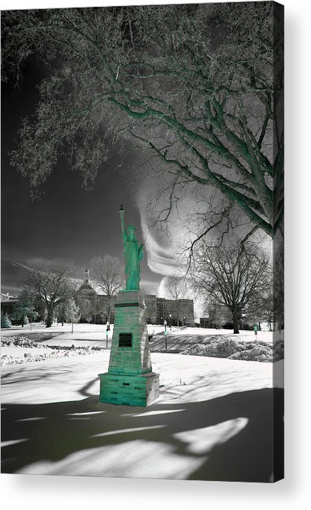 City High Acrylic Print featuring the photograph City High Statue by Jamieson Brown