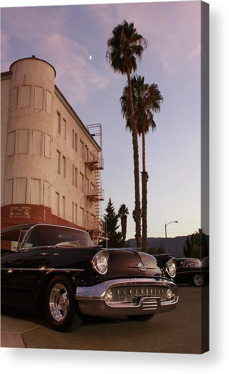 Car Chrysler Wheels Hotel Lake-elsinore Car-show Street Palm Tree Sun-set Acrylic Print featuring the photograph Classic At Sunset by Lawrence Costales