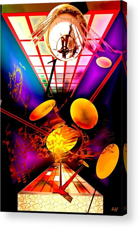 Clock Acrylic Print featuring the digital art Clock-sync by Helmut Rottler