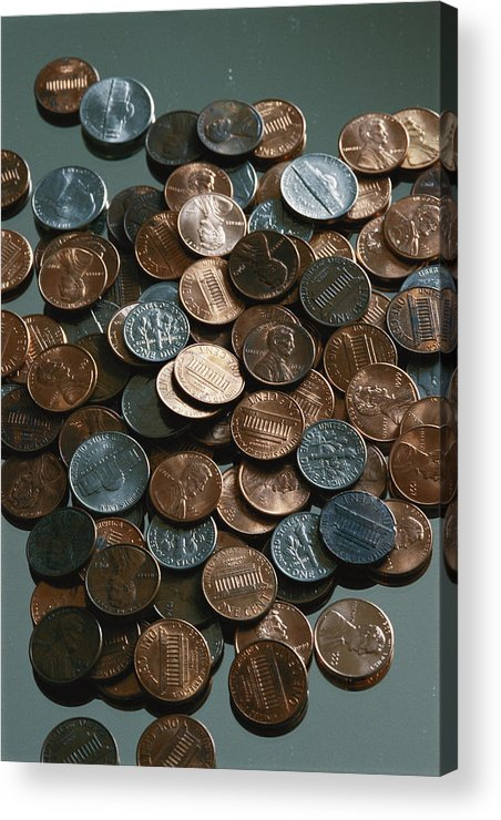 american Coins Acrylic Print featuring the photograph Close View Of United States Coins by Vlad Kharitonov