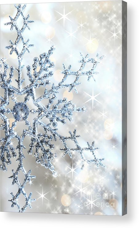 Background Acrylic Print featuring the photograph Closeup Of Snowflake by Sandra Cunningham