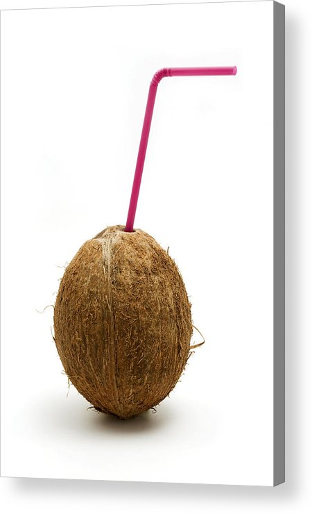 White Background Acrylic Print featuring the photograph Coconut With A Straw by Fabrizio Troiani