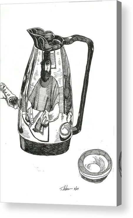 Pen And Ink Acrylic Print featuring the drawing Coffee Pot by Tobey Anderson