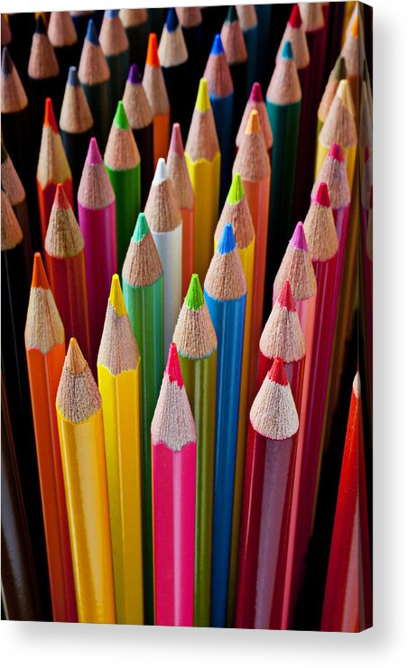 Pencil Acrylic Print featuring the photograph Colored Pencils by Garry Gay
